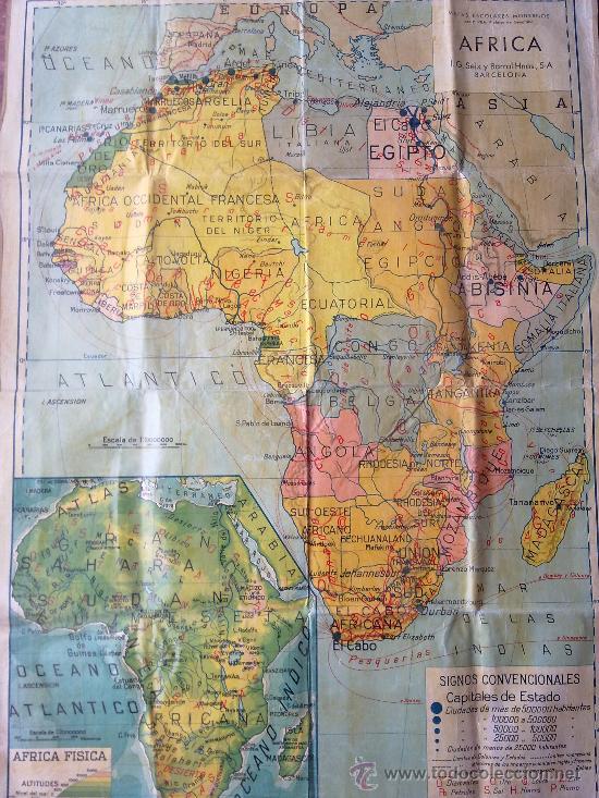 Mapa de africa, continente africano fisico y po - Sold through