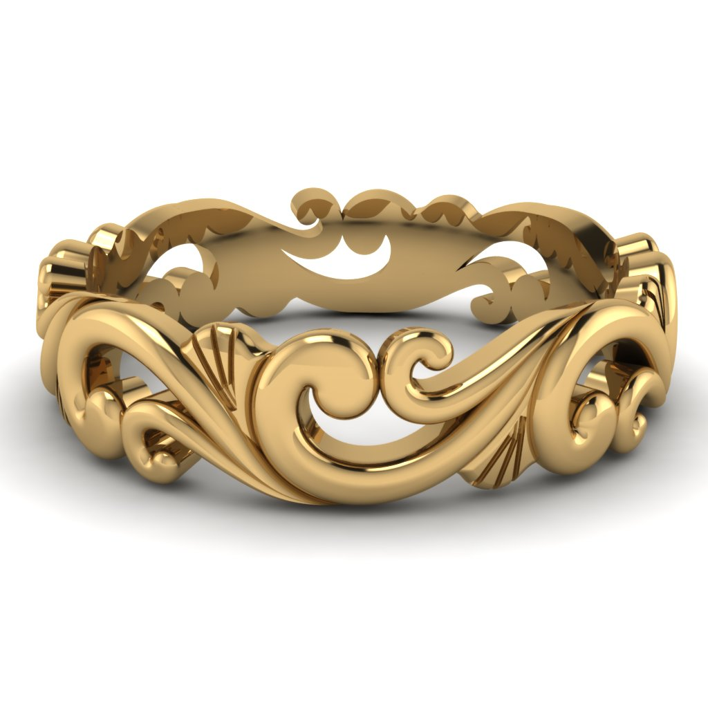 our best unique mens wedding bands collection vintage filigree wedding bands Yellow Gold Filigree Mens Wedding Band
