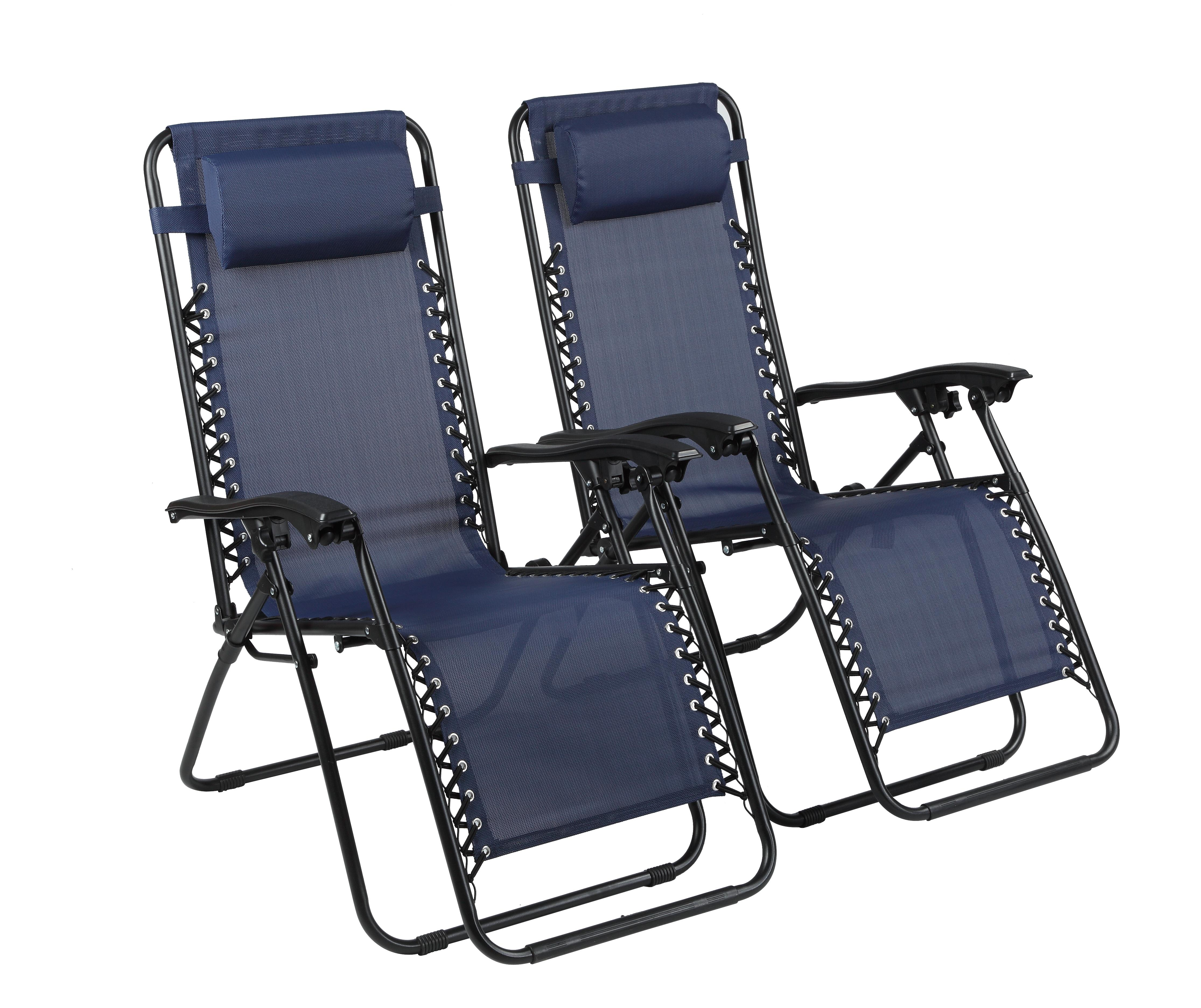 Chairs Comfortable Naomi Home Zero Gravity Lounge Patio Outdoor Recliner Chairs Navy Set Of 2