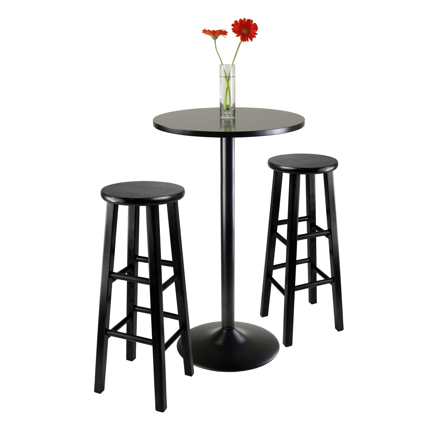 Bar Table Set Obsidian 3 Piece Round Black Pub Table Set 308 34