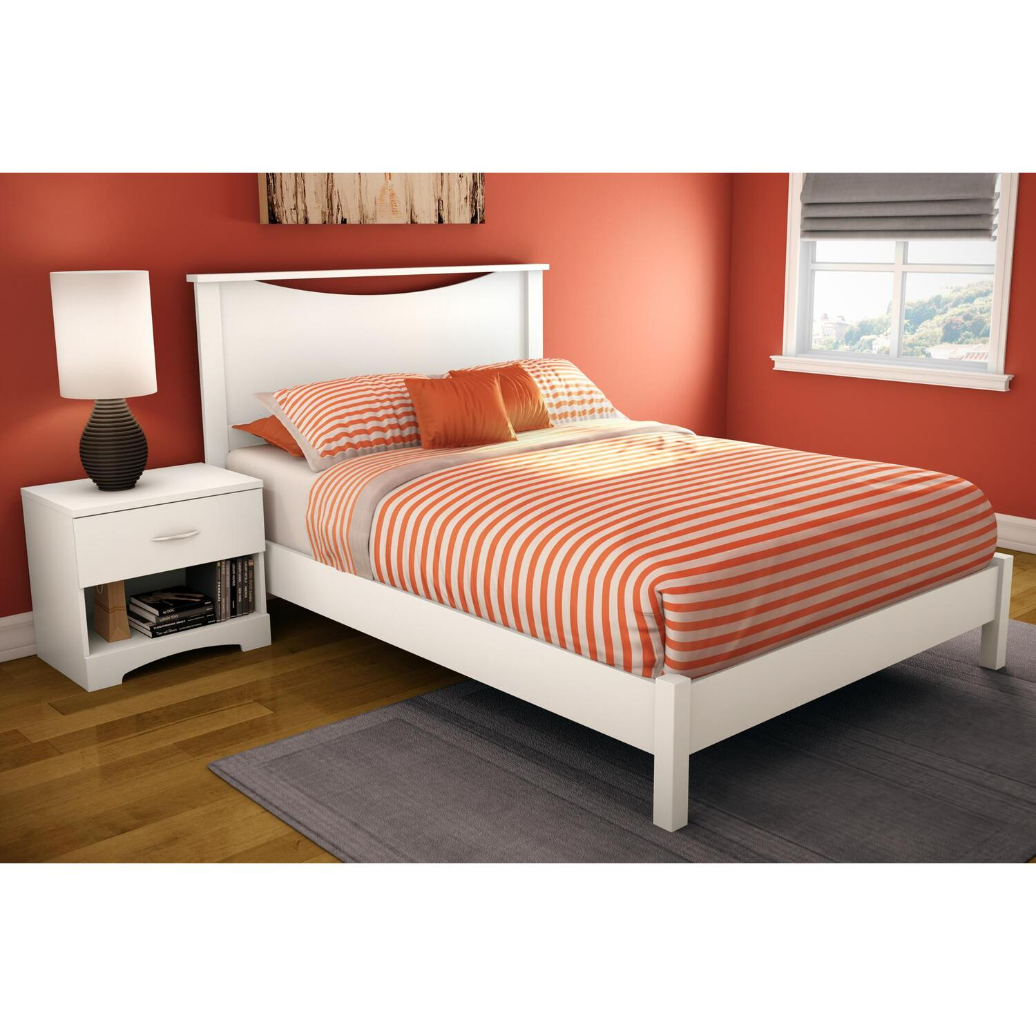 Step One Full Platform Bed Headboard In Pure White