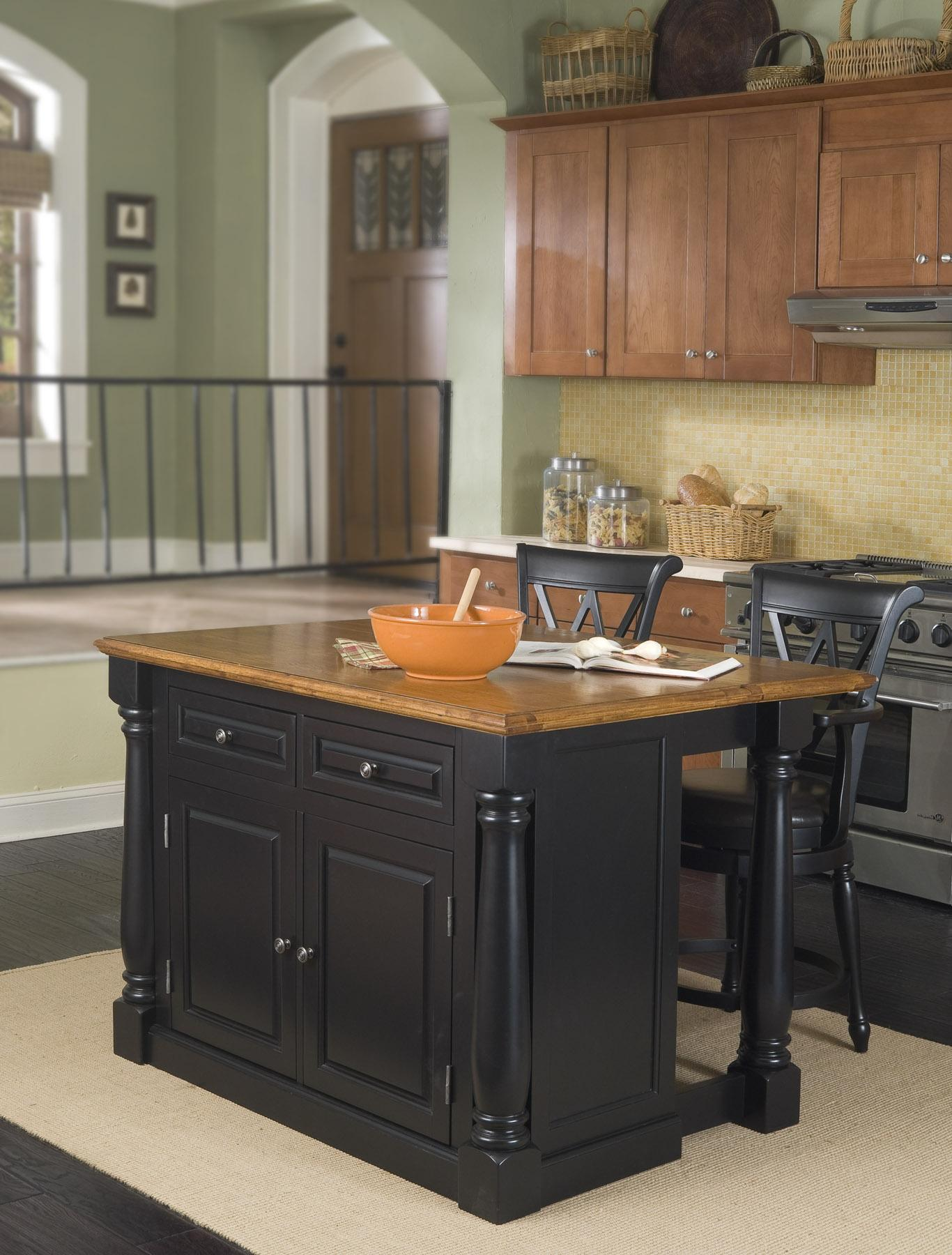 Stools Kitchen Islands Home Styles Monarch Kitchen Island And Two Stools By Oj