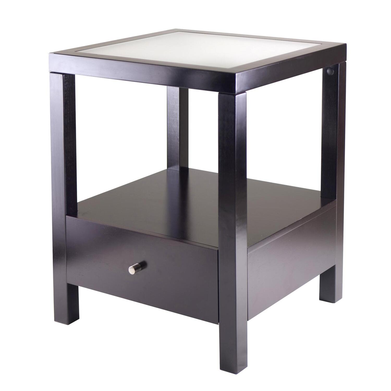 Glass End Table Top Winsome Copenhagen End Table With Glass Top By Oj Commerce