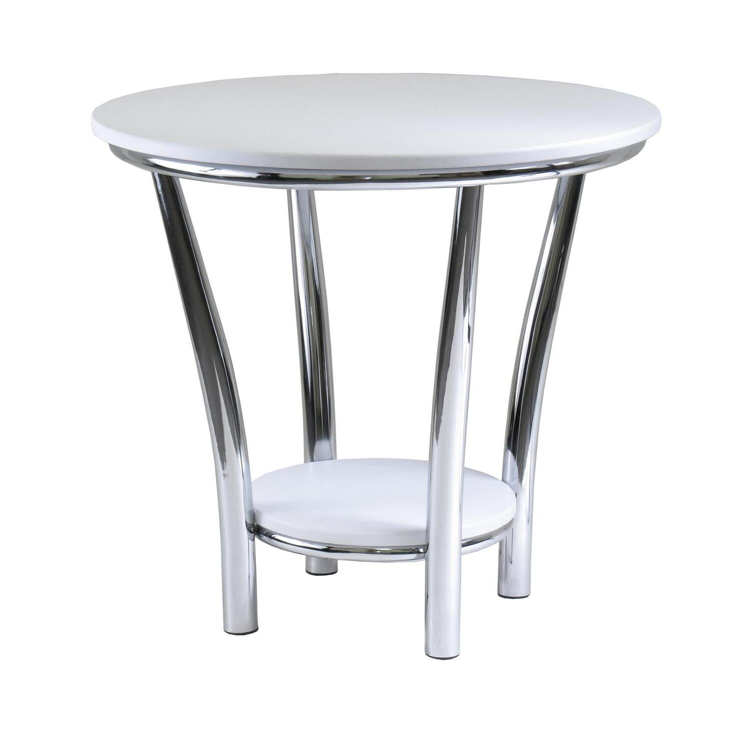 White Metal End Table Winsome Maya Round End Table White Top Metal Leg By Oj