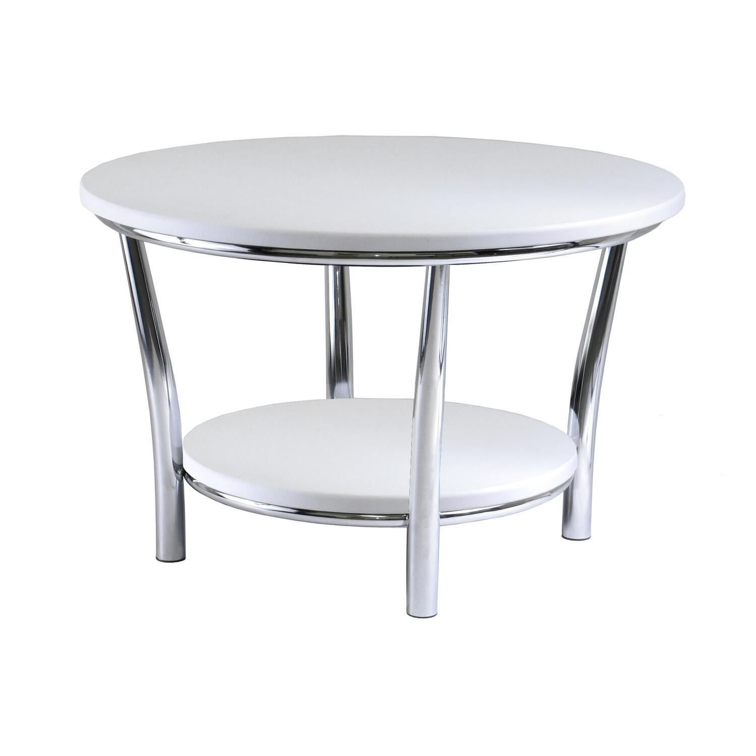 White Metal End Table Winsome Maya Round Coffee Table White Top Metal Legs By