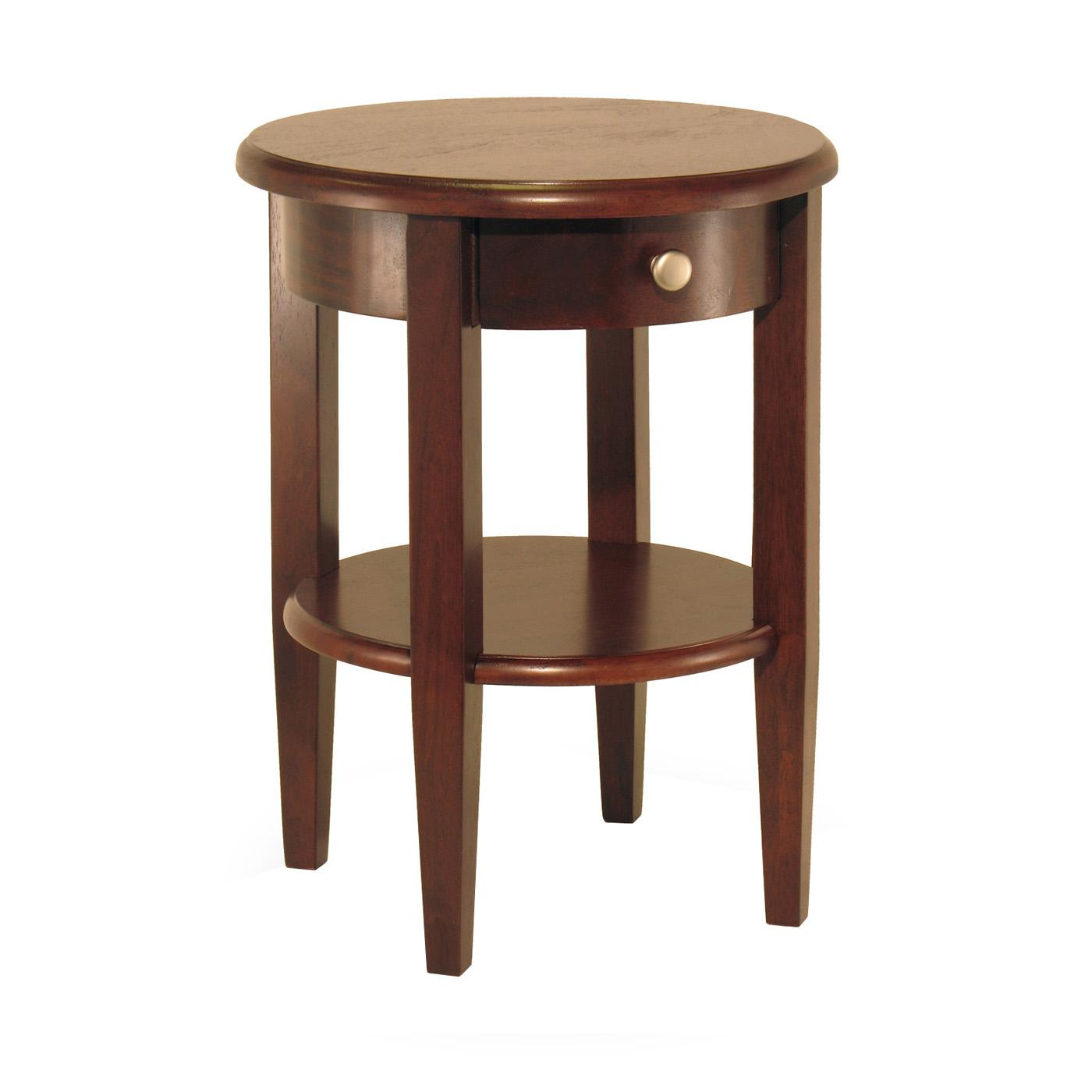 Circular End Tables Winsome Concord Round End Table With Drawer And Shelf By