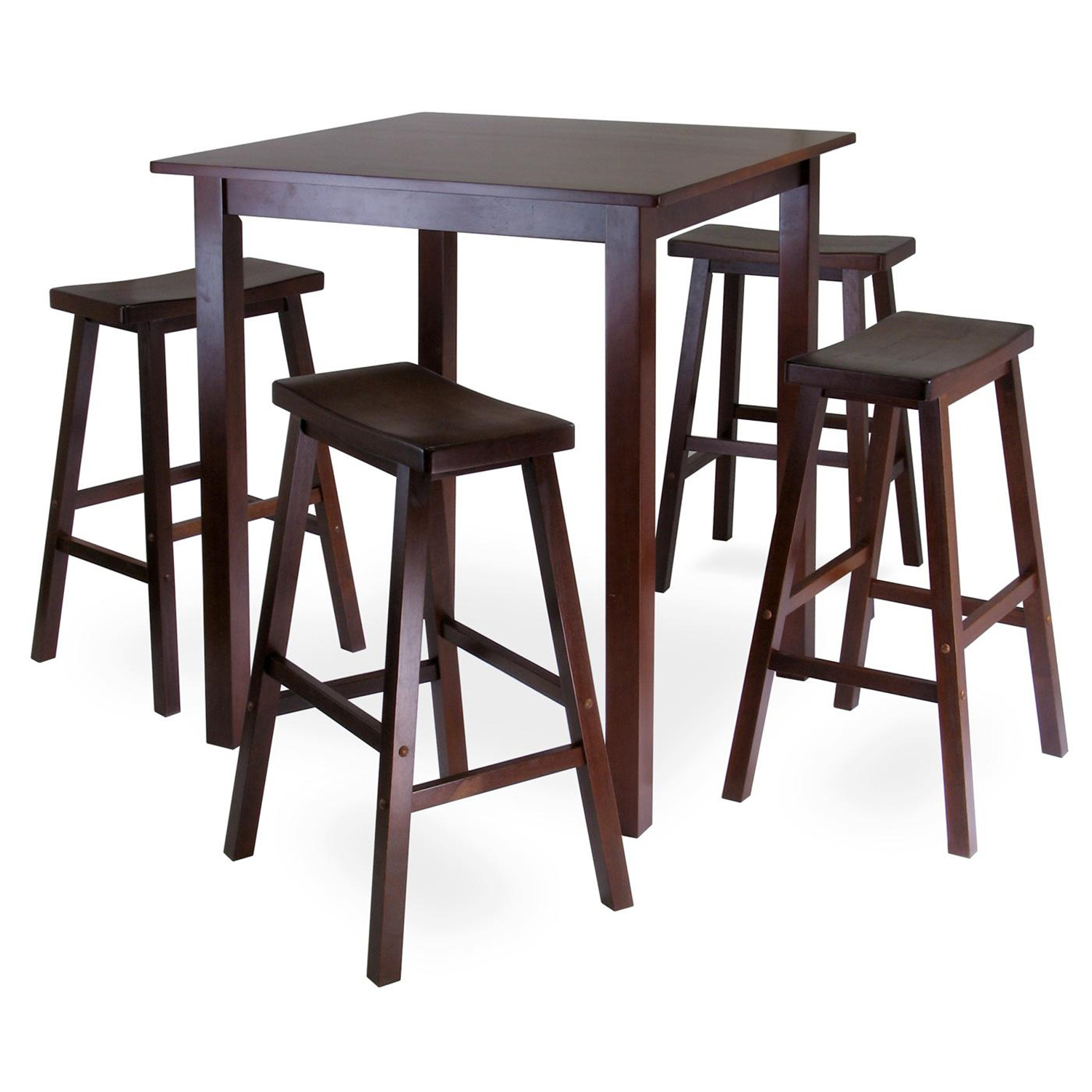 Bar Table Set Parkland 5pc Square High Pub Table Set With 4 Saddle Seat