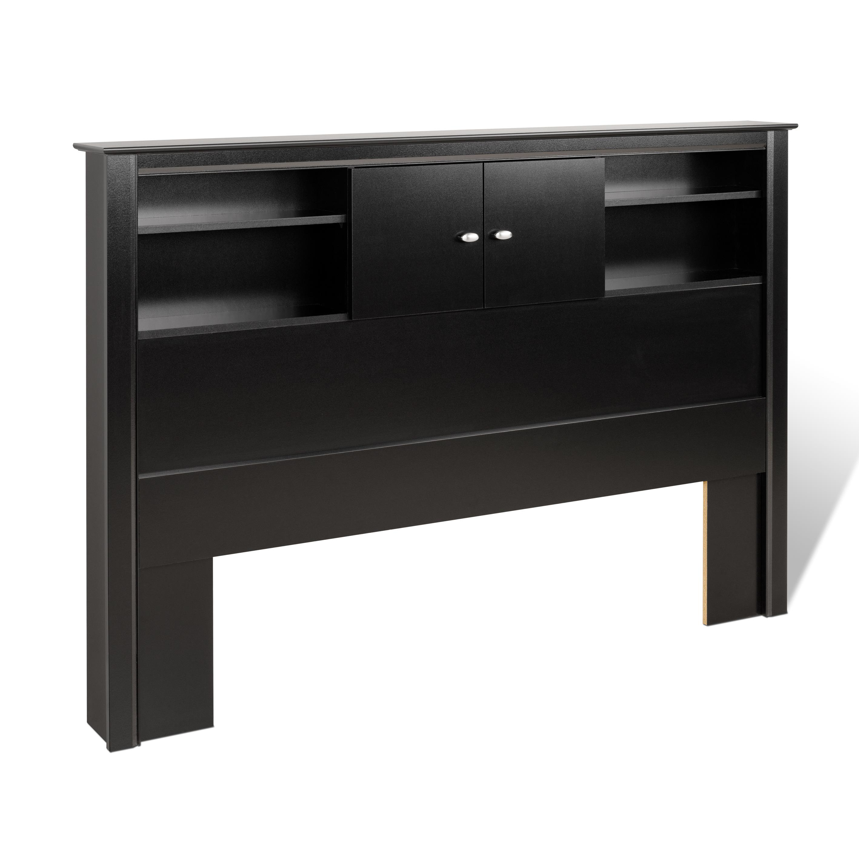 Kallisto Black Double Queen Bookcase Storage Headboard