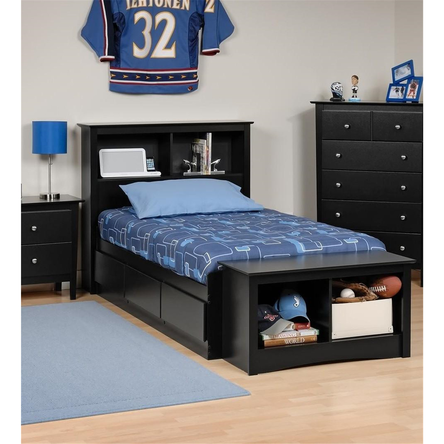 Bedding Storage Platform Storage Bed W Bookcase Headboard Black Twin