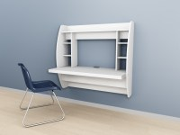Wall Mounted Prepac Floating Storage Desk  White, Black ...