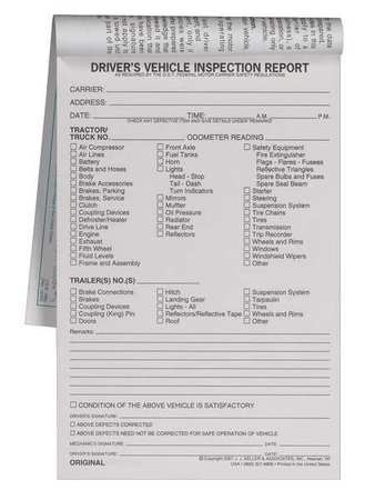 Jj Keller Vehicle Inspection Form, 3 Ply, Carbonless 1862 Zoro - vehicle inspection form