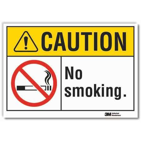 Lyle No Smoking Sign, Black/Yellow, 5 in H LCU3-0074-RD_7x5 Zoro