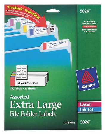Avery Avery® Extra Large File Folder Labels in Assorted Colors for