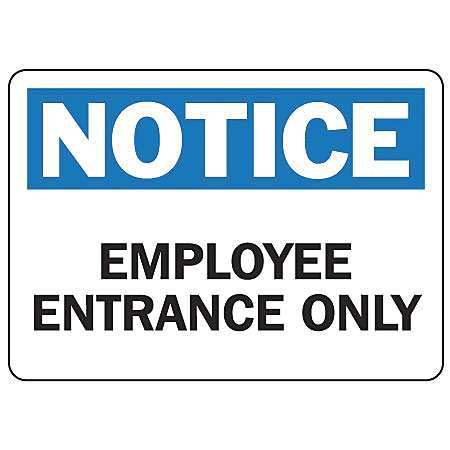 Accuform Notice Sign, Employee Entrance, 7x10 in, Plastic MADM877VP