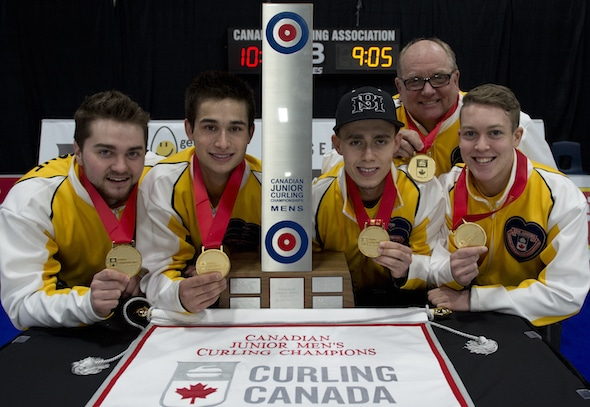 Your Canadian junior men's champs, from left, Matt Dunstone, Colton Lott, Kyle Doering, coach Calvin Edie and Rob Gordon. (Photo, Curling Canada/Michael Burns)