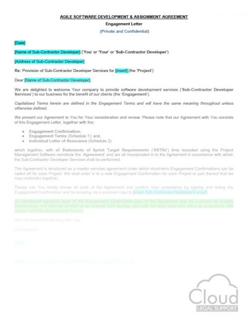 Third Party Data Processor Letter - CloudLegal Support - assignment letter