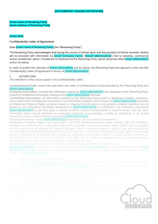 Confidentiality Letter of Agreement (employees, consultants - agreement letter