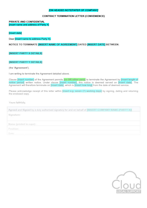 Contract Termination Letter (Convenience) - CloudLegal Support