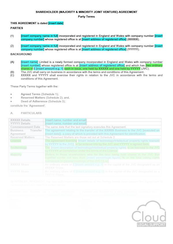 Shareholder (Majority \ Minority Joint Venture - Corporate - shareholder agreement