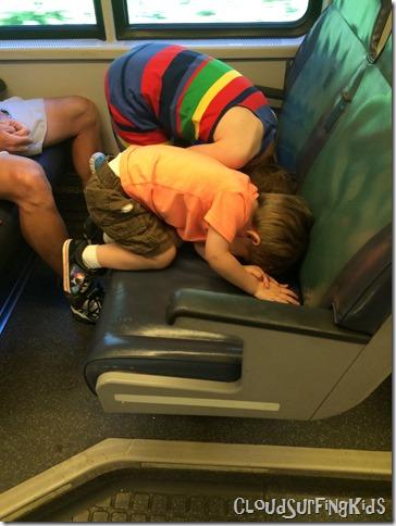 Cozy Kids on Train LIRR