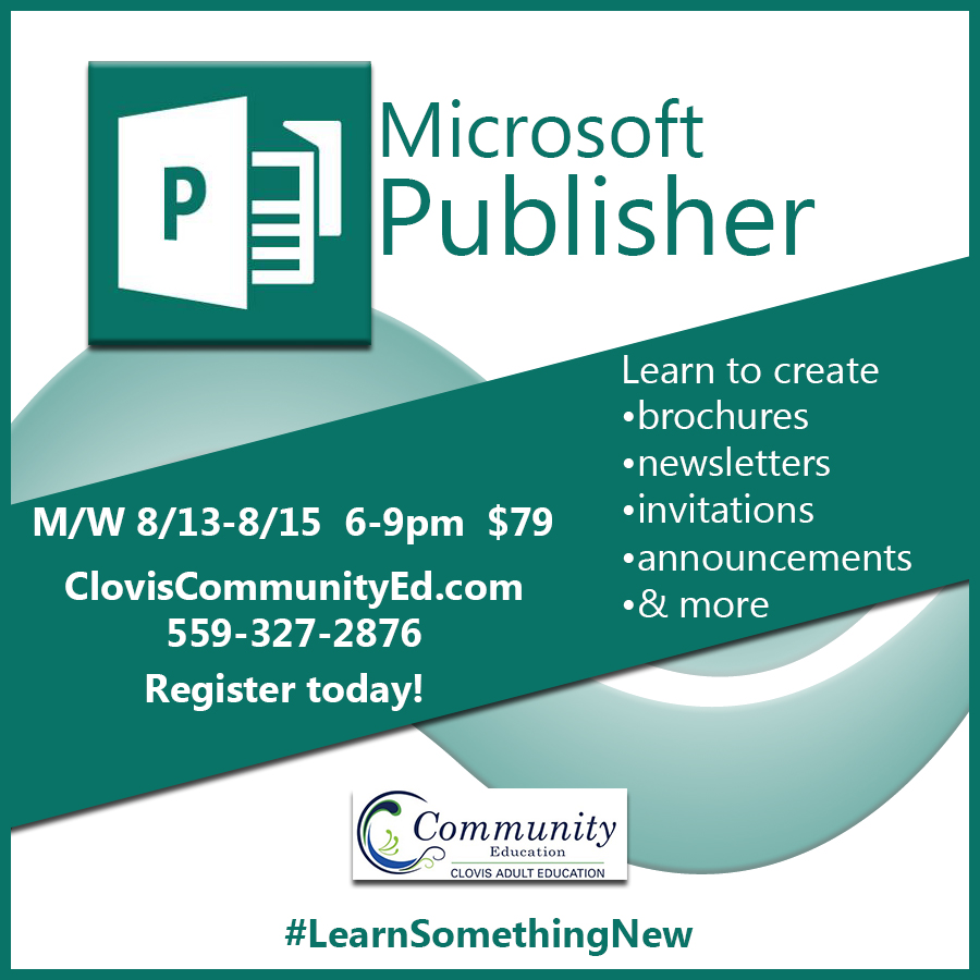 Office Publisher Easy Publishing With Microsoft Publisher Clovis Community Education
