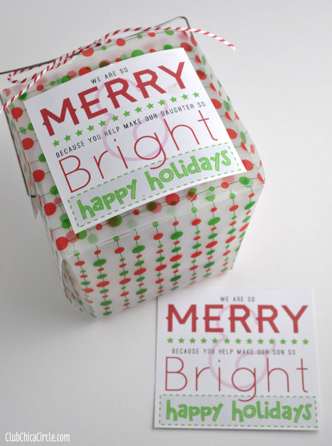 Merry  Bright Holiday Gift Tag Printables for Friends  Teachers
