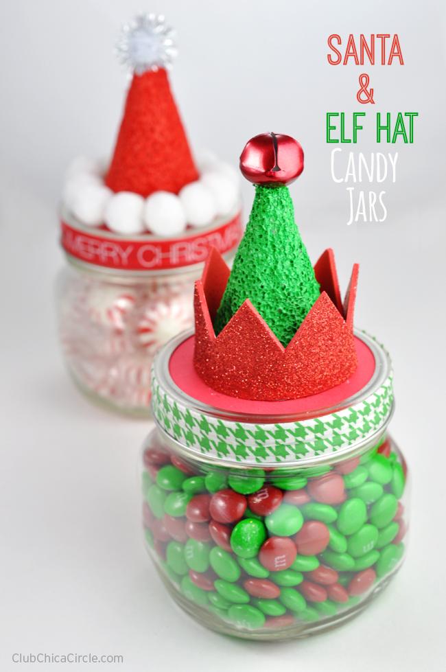 Santa and Elf Hat Candy Jars