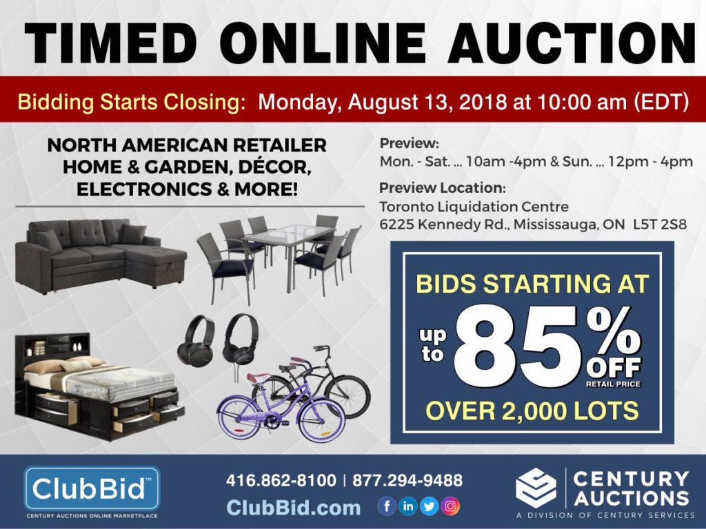 Liquidation Sale Mississauga Unreserved Timed Online Auction North American Retailer In