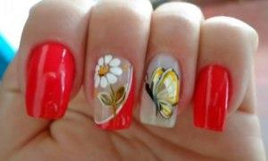 unhas decoradas borboleta flor