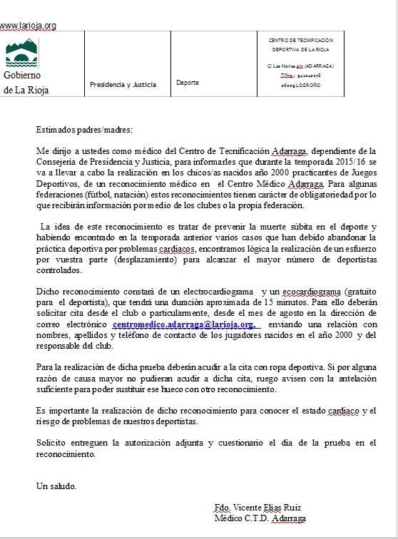 RECONOCIMIENTOS MÉDICOS PARA ESCOLARES TEMPORADA 2015-16 CLUB