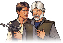 Han Solo and his identical cousin, Thracken Sal-Solo  (You can lose your mind!)