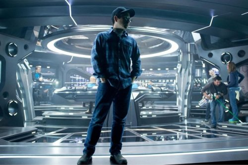 J. J. Abrams on the set of Star Trek Into Darkness