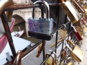 We placed our lock on the Pont des Arts bridge.  That means he's mine FOREVA