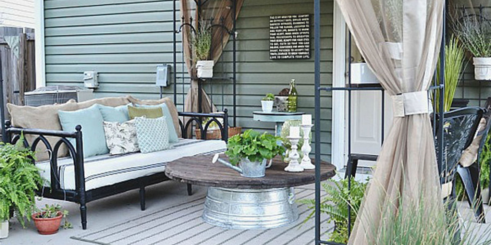 Patio Furnishing Ideas Liz Marie Blog Patio Before And After Patio Decorating Ideas