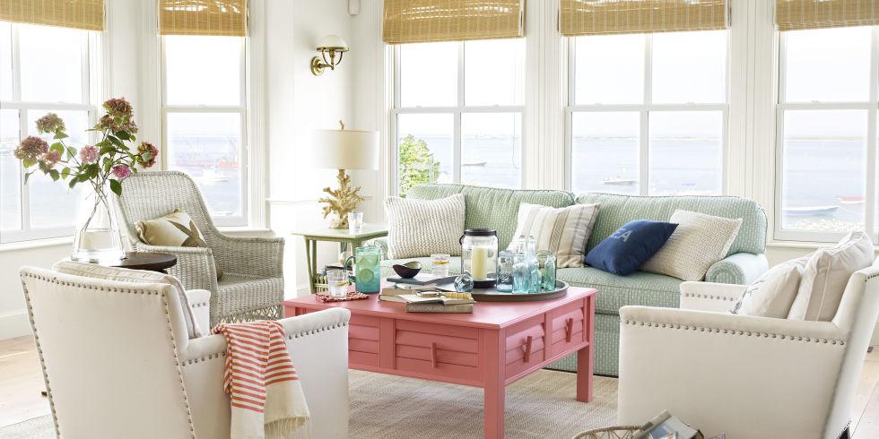 40+ Beach House Decorating - Beach Home Decor Ideas - beach living room furniture