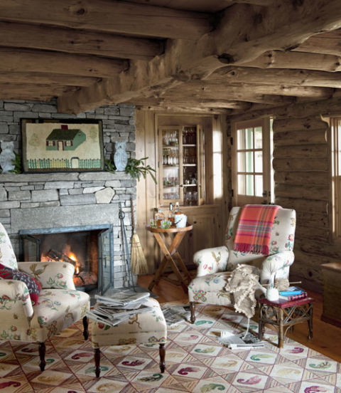 Log Cabin House Tour - Decorating Ideas for Log Cabins - log cabin living rooms