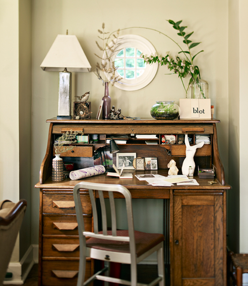 Home Office Ideas - How to Decorate a Home Office - desk in living room