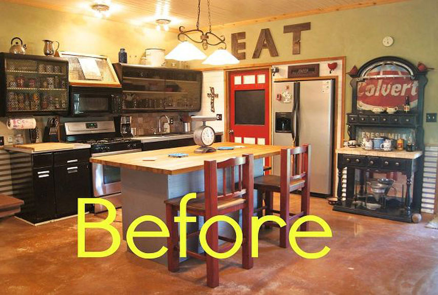 Before and After Rustic Kitchen Makeover - House Makeover Ideas - kitchen makeover ideas