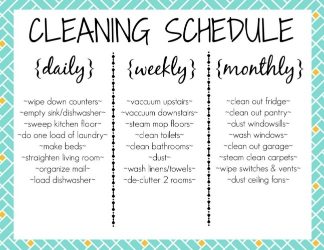 household chore list daily weekly monthly - Josemulinohouse