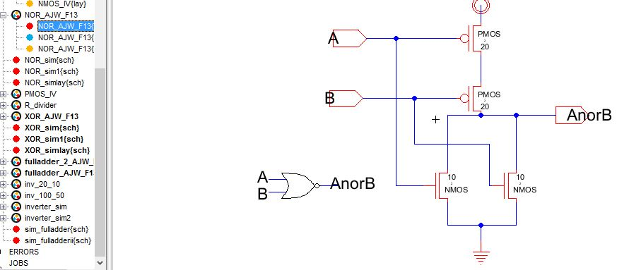 Lab6 - Designing NAND, NOR, and XOR gates for use to design full-adders