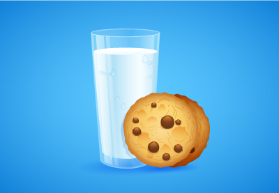 Create A Detailed Glass Of Milk And Cookies In Adobe