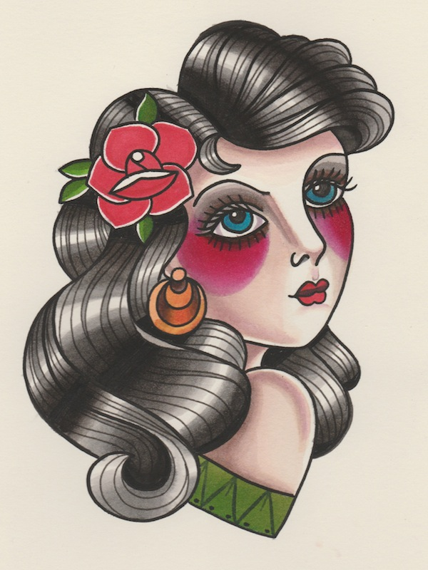 Wallpaper Girls Tatto Hd How To Draw A Vintage Pin Up Portrait Tattoo Illustration