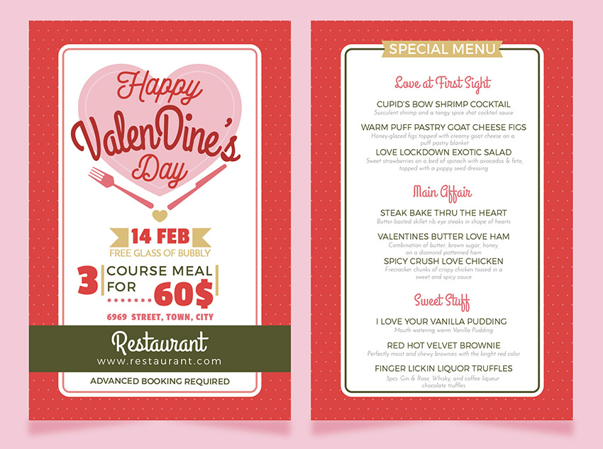 How to Make a Valentine\u0027s Dinner Restaurant Menu Flyer Template