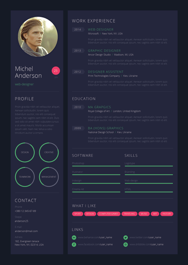 website designer cv sample