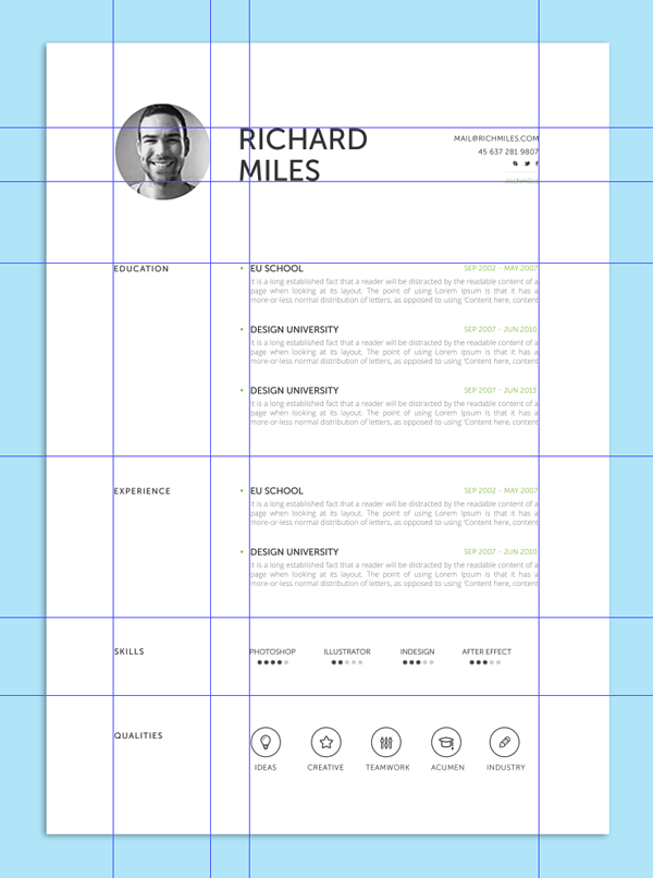resume grid layout