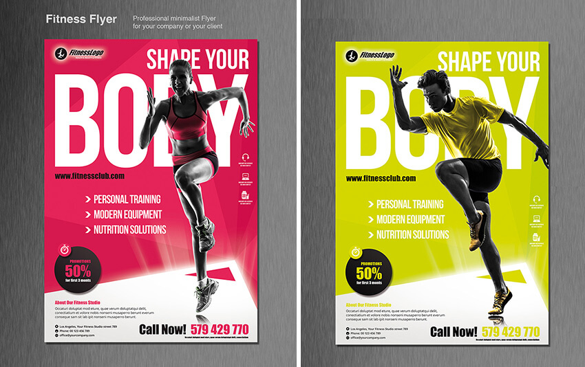 60+ Time-Saving Print Templates for Adobe InDesign  Photoshop - fitness brochure template