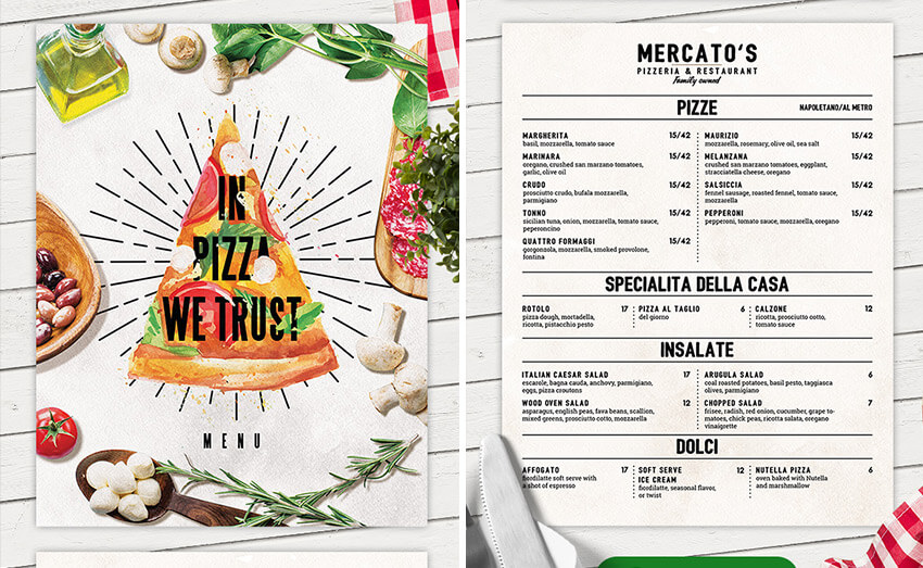 60+ Time-Saving Print Templates for Adobe InDesign  Photoshop - Sample Pizza Menu Template