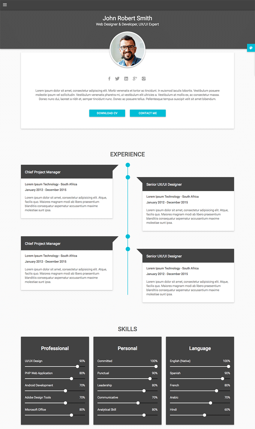 site creation cv pdf