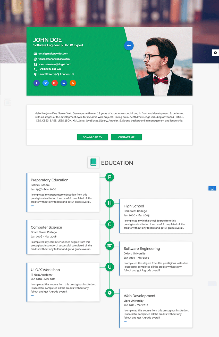example website cv