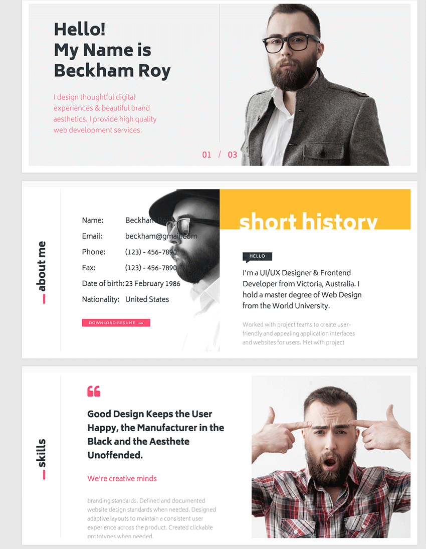 interactive resume html template